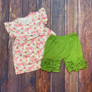 Unicorn Green Ruffle Short Set