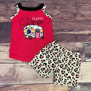 Happy Glamper Embroidered Cheetah Short Set