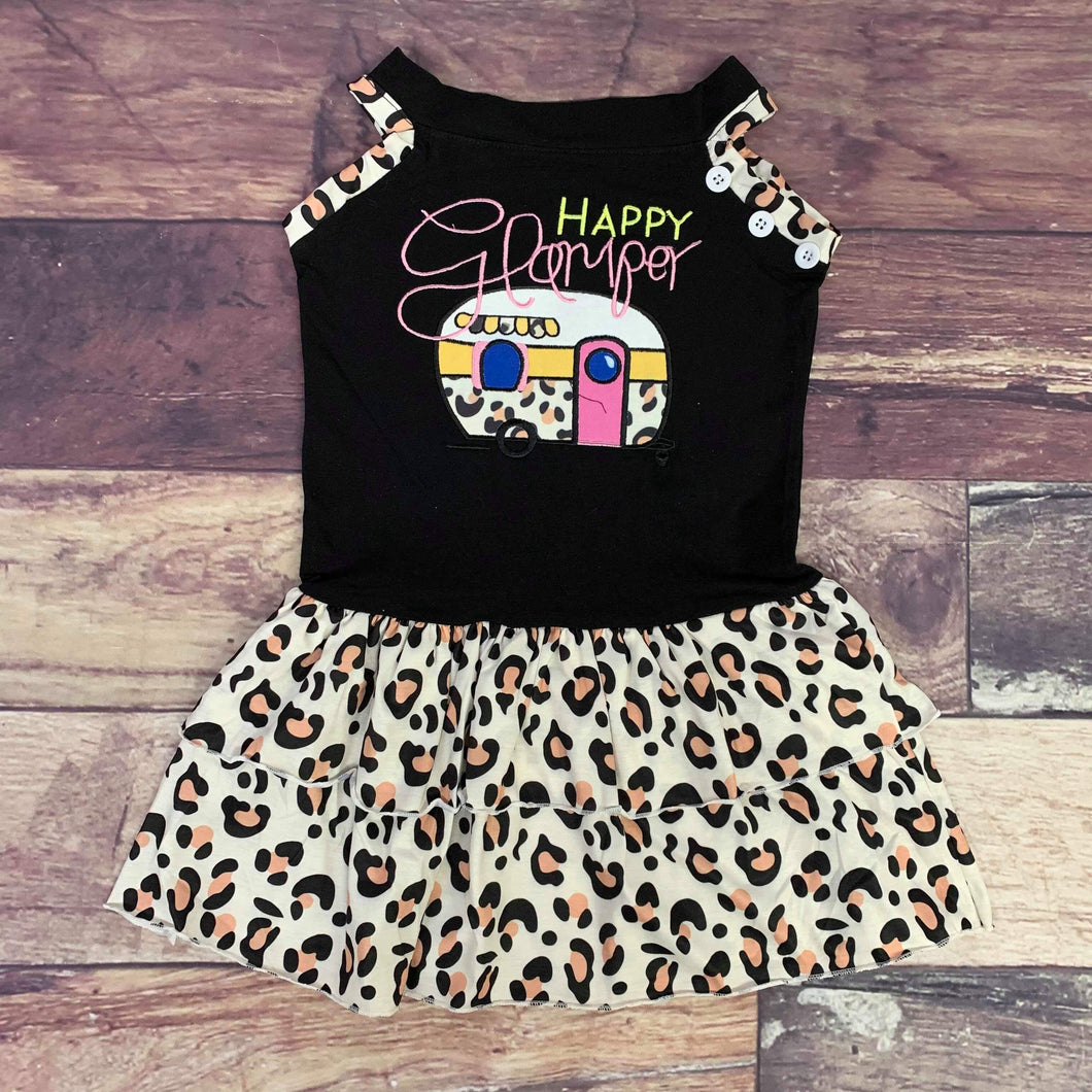 Happy Glamper Embroidered Cheetah Print Ruffle Dress