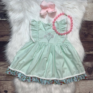 Inspired Mint Woven Dress w/ Floral Embroidery