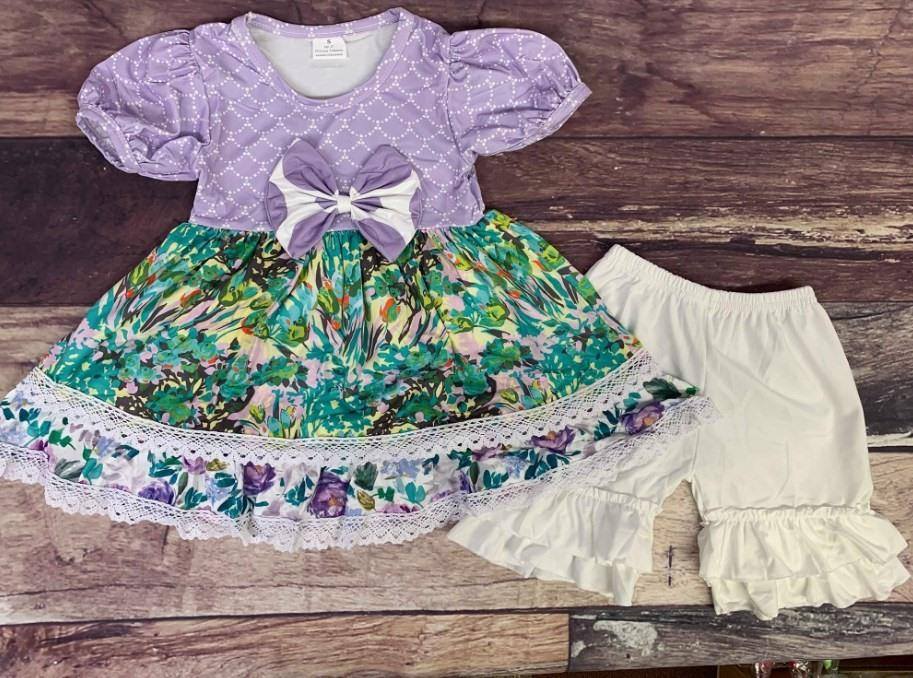 Lavender Floral Set with White Shorts
