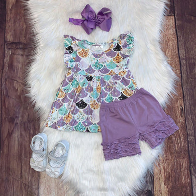 Lavender Mermaid Sparkle Tunic with Icing Shorts