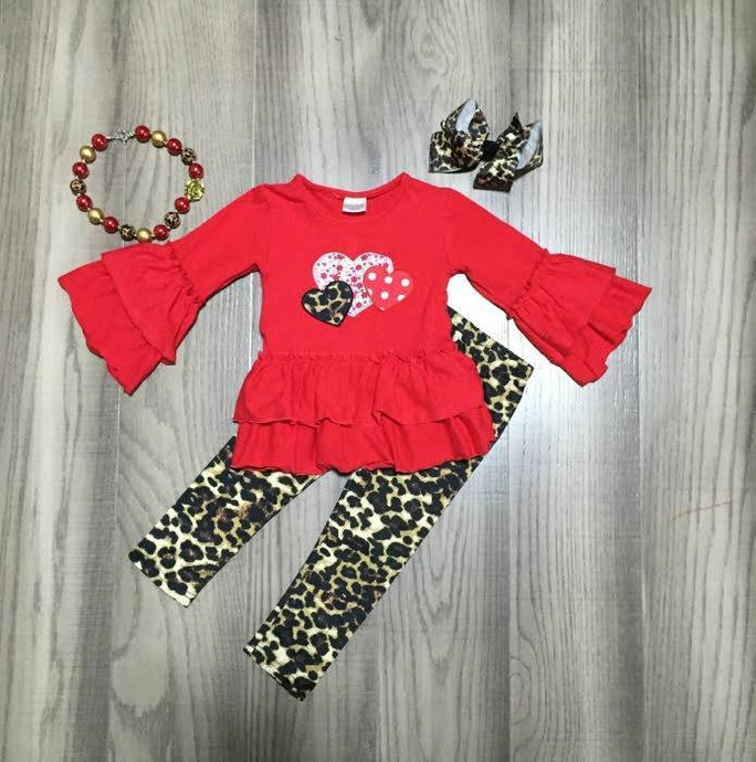 Leopard Hearts Tunic Set