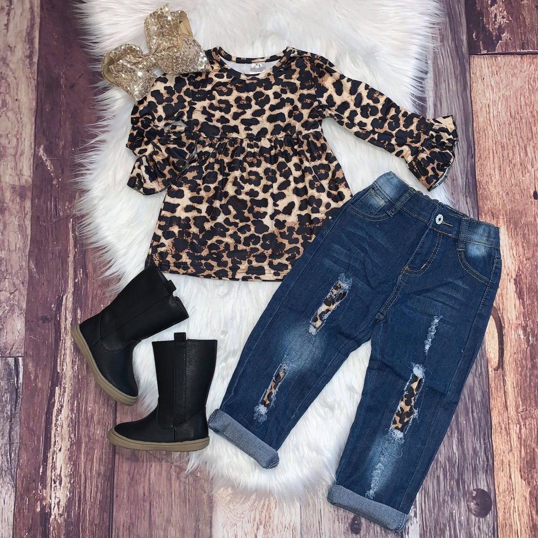 Leopard Distressed Denim Set