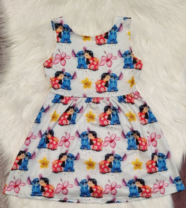 Lilo & Stitch Print Sleeveless Dress