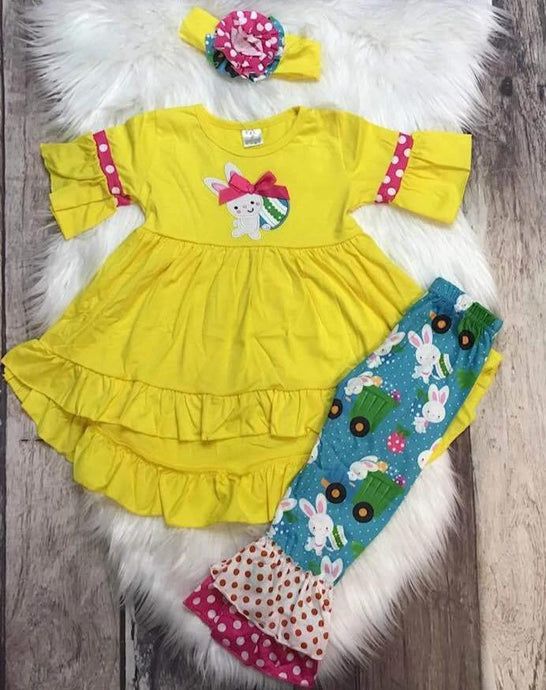 Loads of Eggs Yellow EASTER Tunic Set