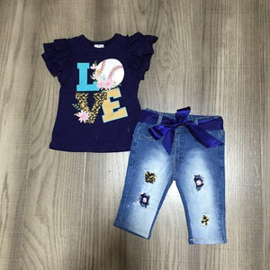 "Baseball ""Love"" Top and Blue Belted Denim Capri Set"