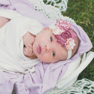 Mauve and Cream Floral Headband