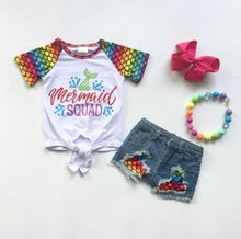 Load image into Gallery viewer, Mermaid Squad Tie Top and Denim Shorts Set