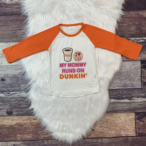 Mommy Runs on Dunkin' Raglan