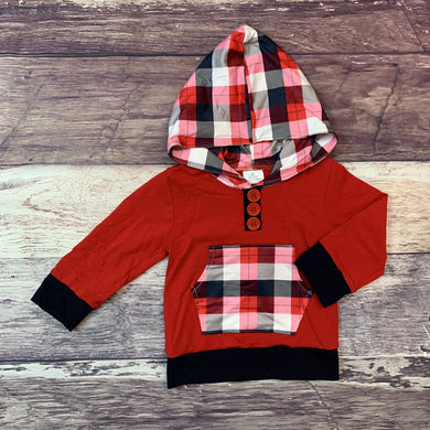 Navy Pink and Red Plaid Hoodie