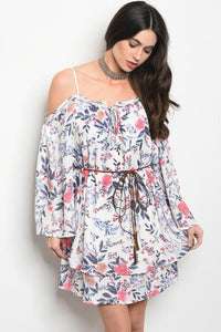 Open Shoulder Floral Flow Dress