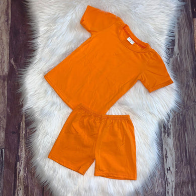 Unisex Knit Cotton Tee & Short Sets-Orange