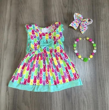 Load image into Gallery viewer, Peeps Print Ruffle Dress