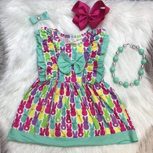 Peeps Print Ruffle Dress