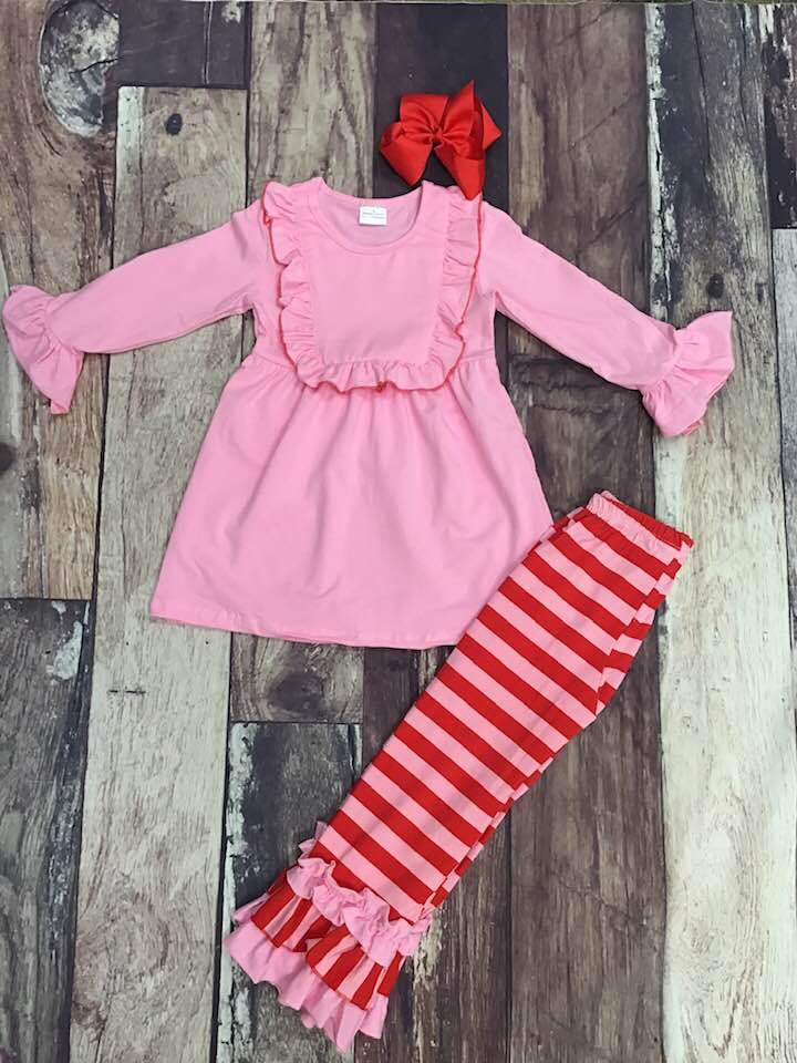 Pink and Red Stripe Ruffle Tunic Set