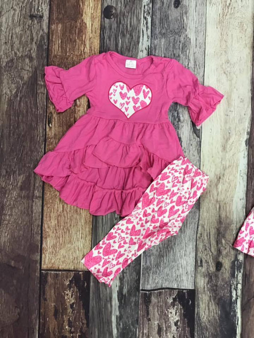 Pink Hearts Tunic Legging Set