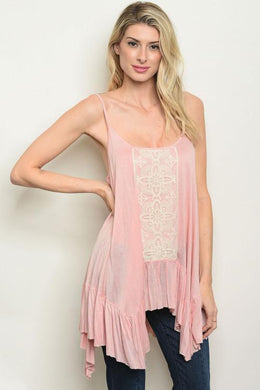 Pink Lace Long Frill Top