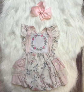 Powder Pink Floral Lace Ruffle Bubble