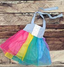 Rainbow Chiffon Halter Dress