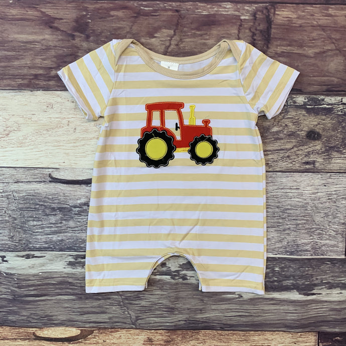 Embroidered Tractor Red & Tan Stripe Romper