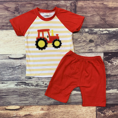 Embroidered Tractor Red & Tan Stripe Boy's Set