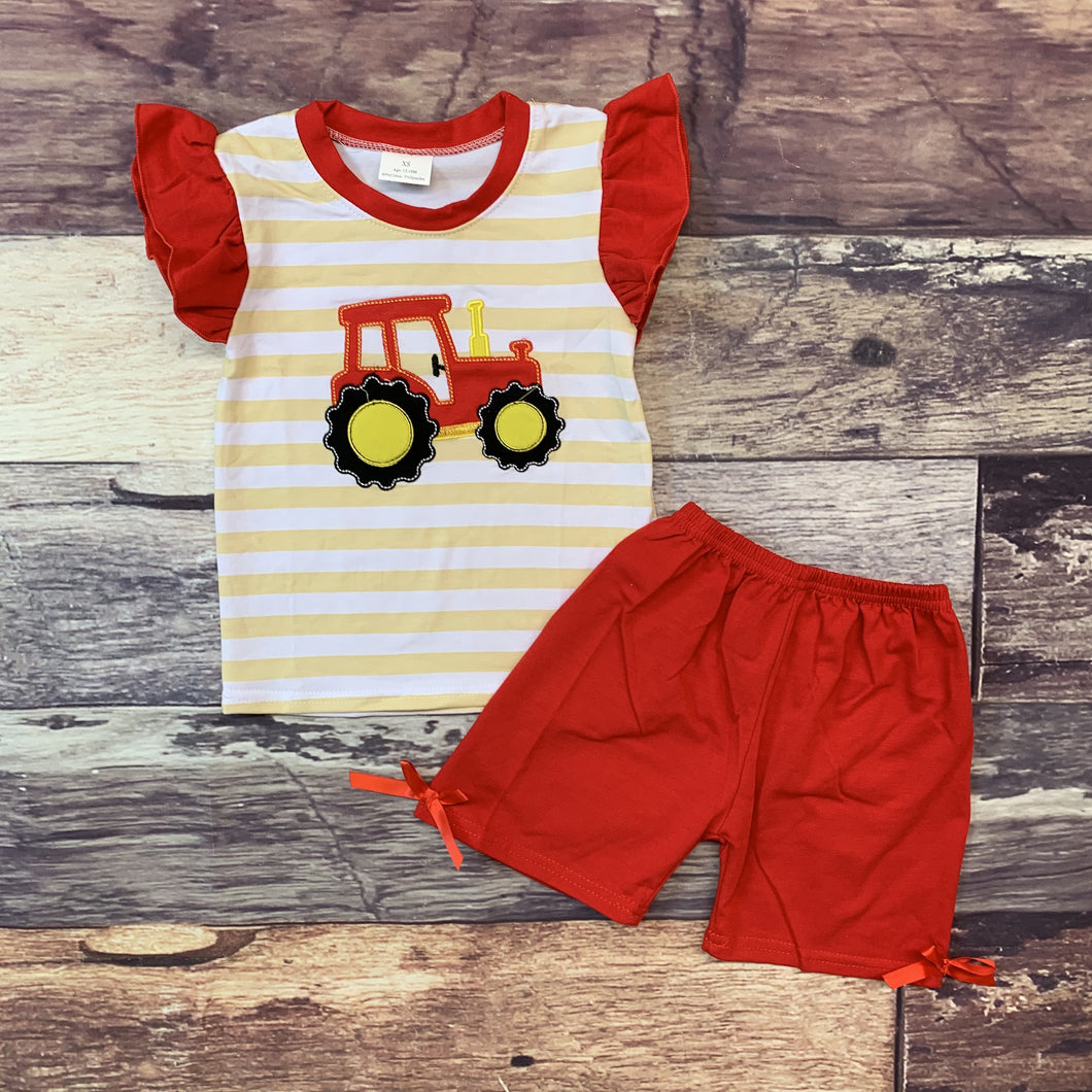Embroidered Tractor Red & Tan Stripe Girl's Set