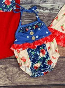 Red White and Blue Floral Bubble