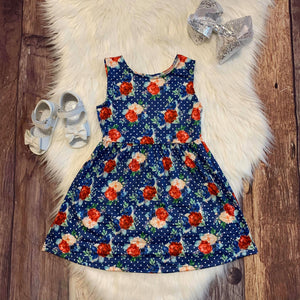 Navy Polka Floral Sleeveless Dress