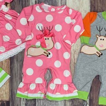 Reindeer Girls Romper
