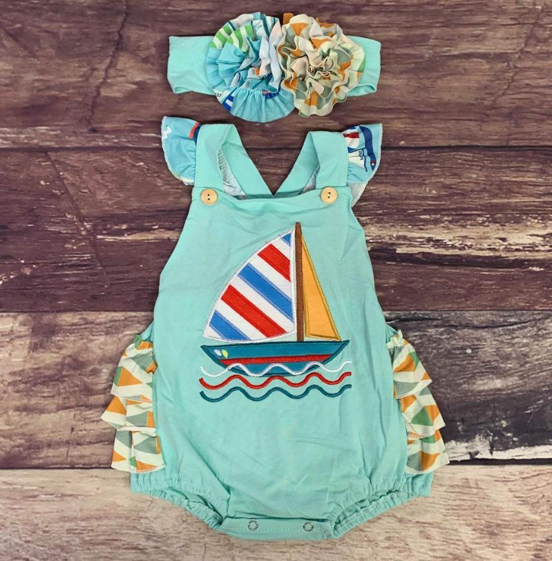 Embroidered Sailboat Mint Ruffle Bubble w/Headband