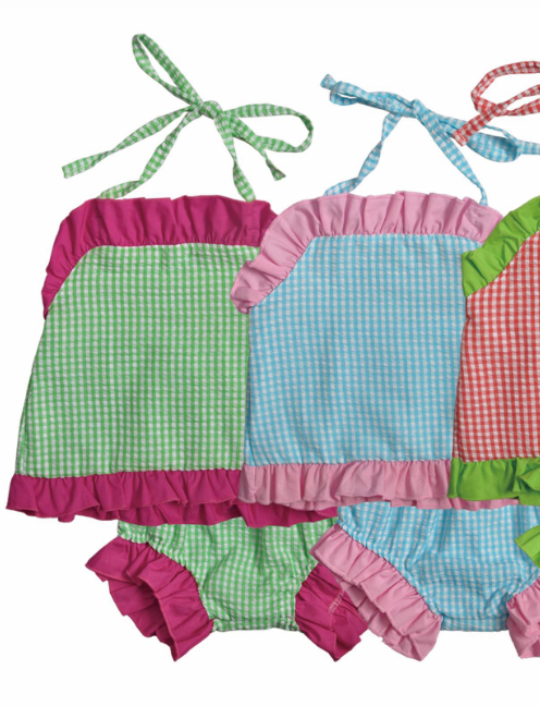 Seersucker Ruffle Bums Sunsuit