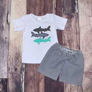Embroidered Shark Short Set