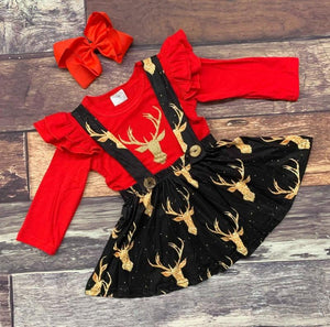 Sparkling reindeer suspender skirt set