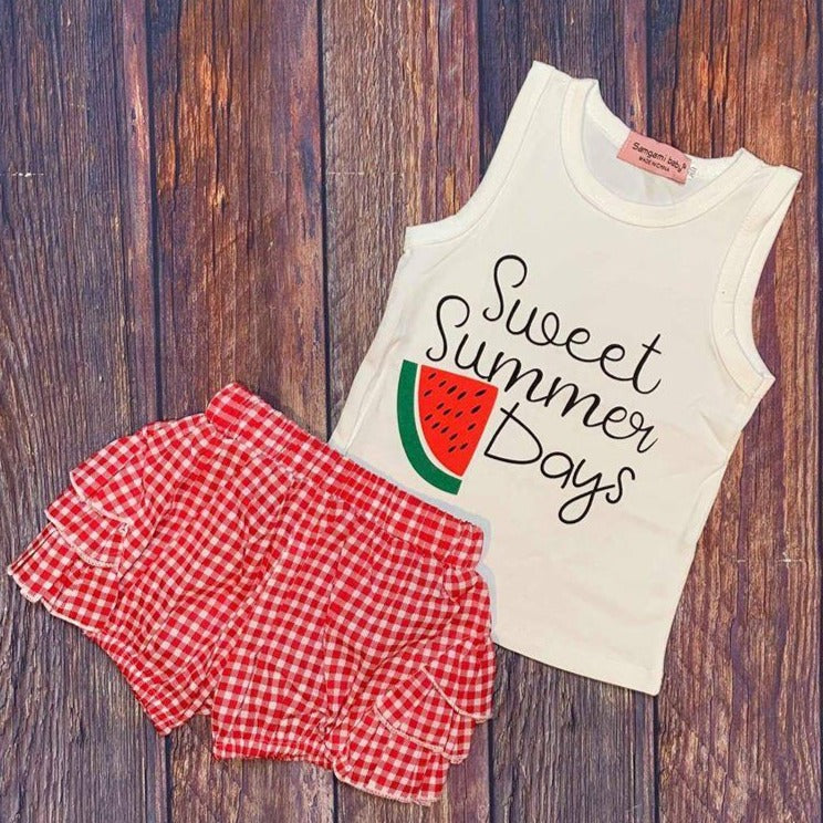 Watermelon Sweet Summer Days  Woven Shorts Set