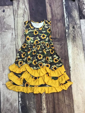Sunflower Camo Printed Ruffle Maxi Dress