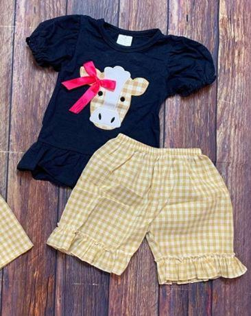 Navy Embroidered Cow Tee & Woven Plaid Shorts - Girl's