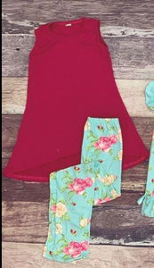 Teal Floral Mommy Tunic and Legging Set