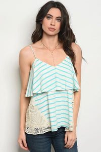 Teal Stripe Lace Top