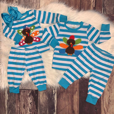 Embroidered Brother & Sister Turkey Pajamas-Boys