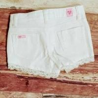 White Denim Lace Trimmed Shorts