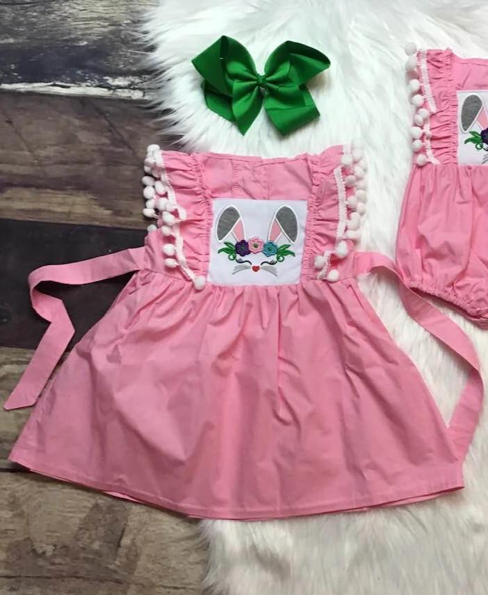 Woven Pink Bunny Dress & Bubble
