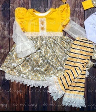 Yellow Damask 3pc Set