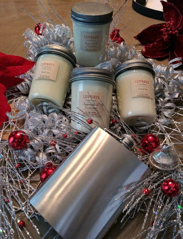 """Me Time"" Four Candle Set with Bonus Flask"