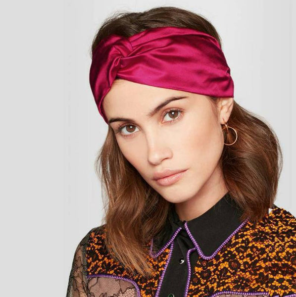 19 Momme Combined Silk Criss Cross Headband / Headwrap / Turban