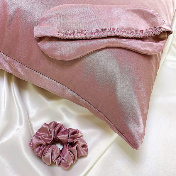Luxurious Silk Sleep Set - Silk Pillowcase/Silk Eye Mask/Silk Scrunchy