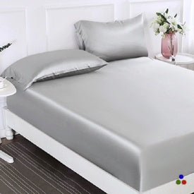 100% Silk 2-in-1 Fitted & Flat Sheet and Silk Pillowcases Set