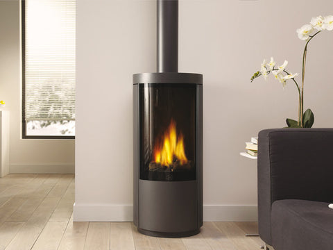 The DRU Circo Stove set in a living room.