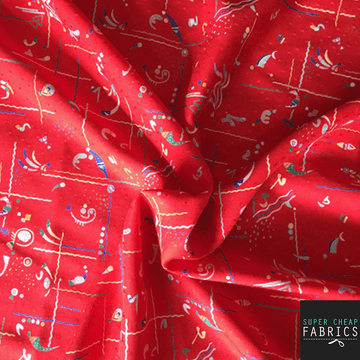 Abstract Polyester Red - Super Cheap Fabrics