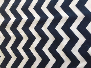 Navy & White Chevron Stripe - Super Cheap Fabrics
